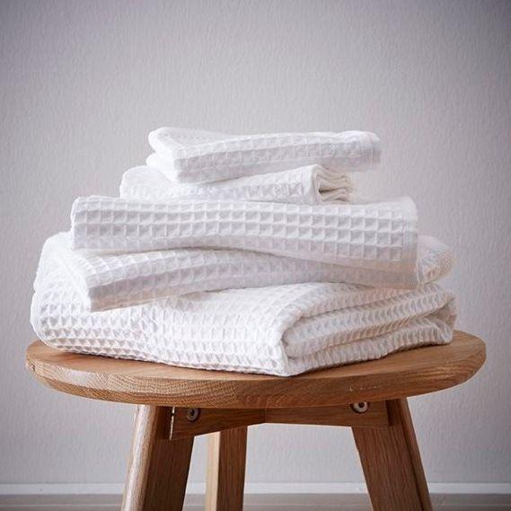 Asciugamano da bagno a nido d'ape in cotone bianco 90x150