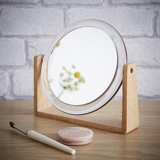 Miroir grossissant rond à poser avec support en bois double face X7 diamètre 15cm