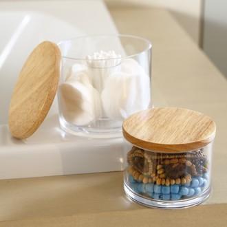 Boite à coton ronde transparente avec couvercle en bois