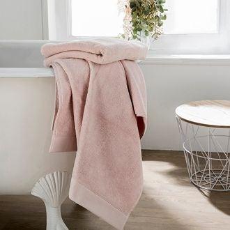 Serviette de bain en coton éponge fard 100x150cm