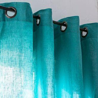 Rideau en 100% lin à oeillets bleu aqua 140x280cm