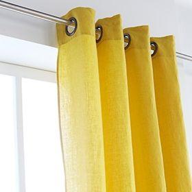 Rideau en 100% lin à oeillets jaune curry 140x280cm