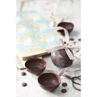 MAT FER - Moule à chocolats 6 demi-sphères en polycarbonate 7cm