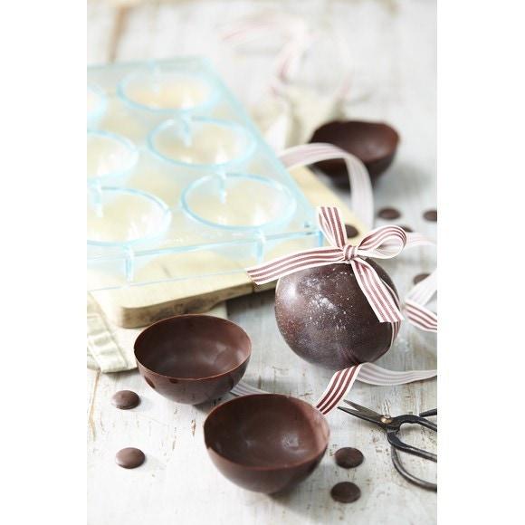 Stampo per 6 semisfere in cioccolato  in policarbonato, Ø 7 cm