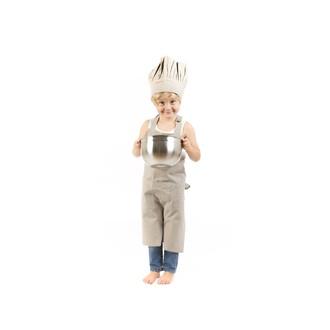 Toque de cuisine enfant taupe  25x30cm