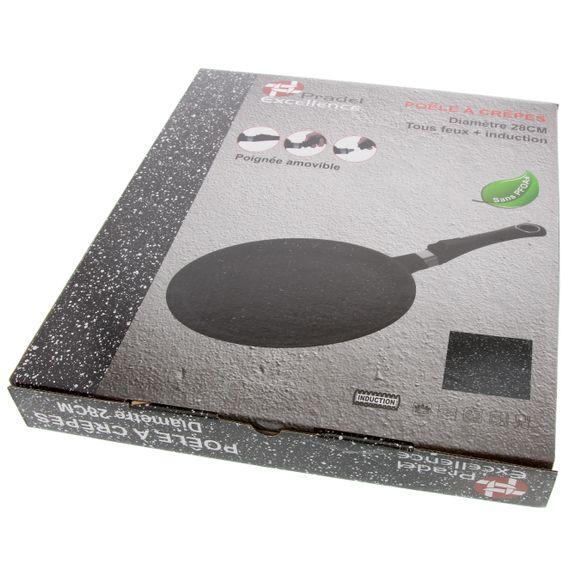 Crepiera in alluminio effetto pietra con manico amovibile Ø 28 cm