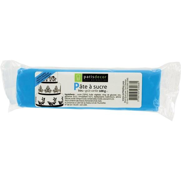 Pâte à sucre bleu aromatisée vanille 100g