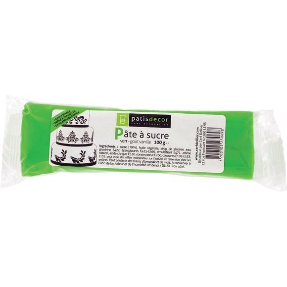 Pâte à sucre vert aromatisée vanille 100g