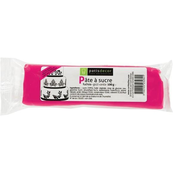 compra en línea Fondant de azúcar sabor vainilla rosa fucsia Patisdecor (100 gr)