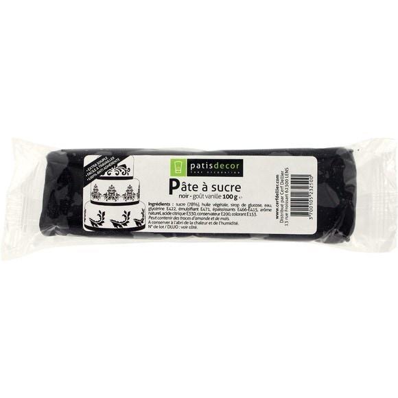Pâte à sucre noire aromatisée vanille 100g