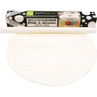 Patisdecor - pâte à sucre blanche prête à dérouler aromatisée vanille 36cmx4mm