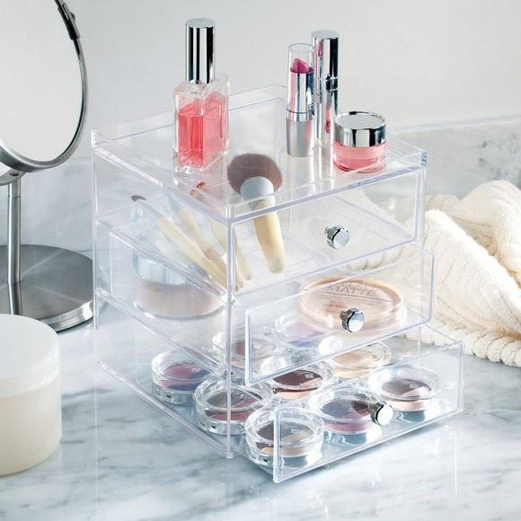 rangement maquillage en acrylique 3 tiroirs 18x16,5Hx18 Pas cher - Zôdio