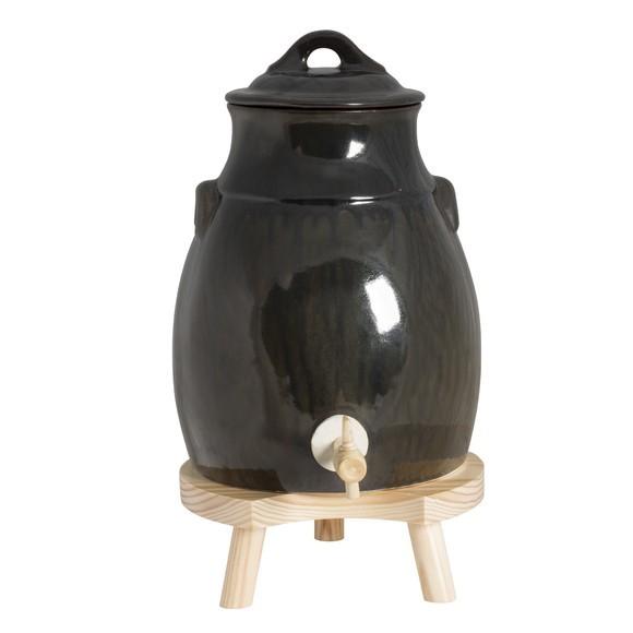 Ampolla per aceto con base in legno 35L