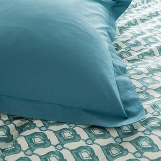 Zodio - taie d'oreiller rectangle en coton bleu paon 50x70cm