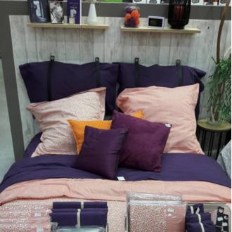 Maom - taie d'oreiller rectangle en percale aubergine 50x70cm