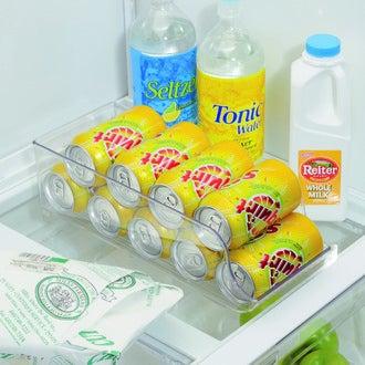 INTERDESIGN - Bac de rangement frigo pour canettes en plastique blanc Fridge Binz 14x35x10cm