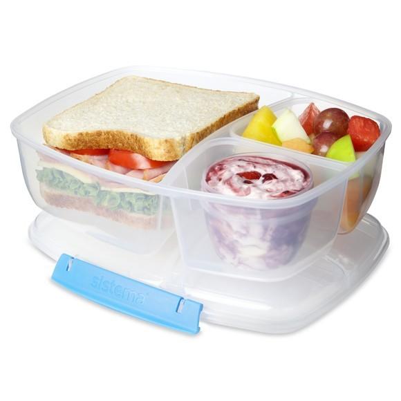 Porta pranzo con 3 scomparti e vasetto yogurt o salsa 2L