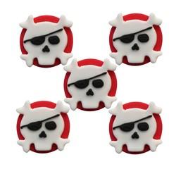 compra en línea 5 calaveras pirata de azúcar de decoración de repostaría (29 gr)
