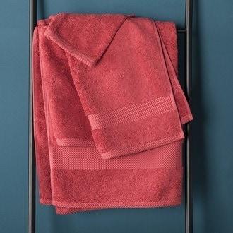 Zodio - serviette de bain en coton éponge cranberry 90x140cm