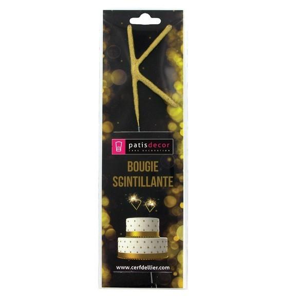 Bougie scintillante dorée lettre K
