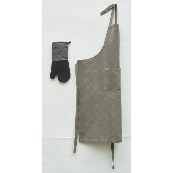 Grembiule da cucina con pettina in cambric grigio