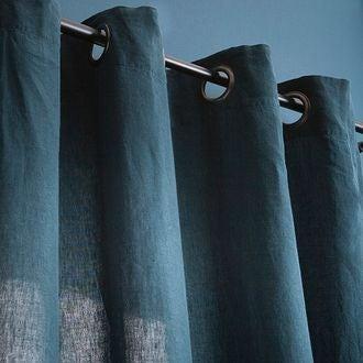 Rideau propriano 100% lin bleu de prusse 140x280cm