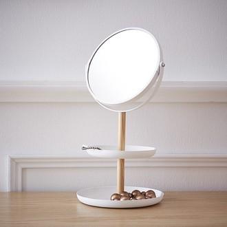 Miroir a 2 plateaux porte bijoux en bois et métal blanc double face X2