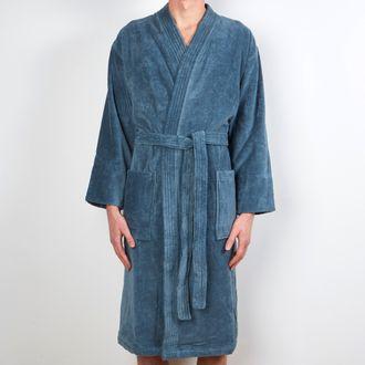 Maom - peignoir homme en coton éponge bleu tempête taille l