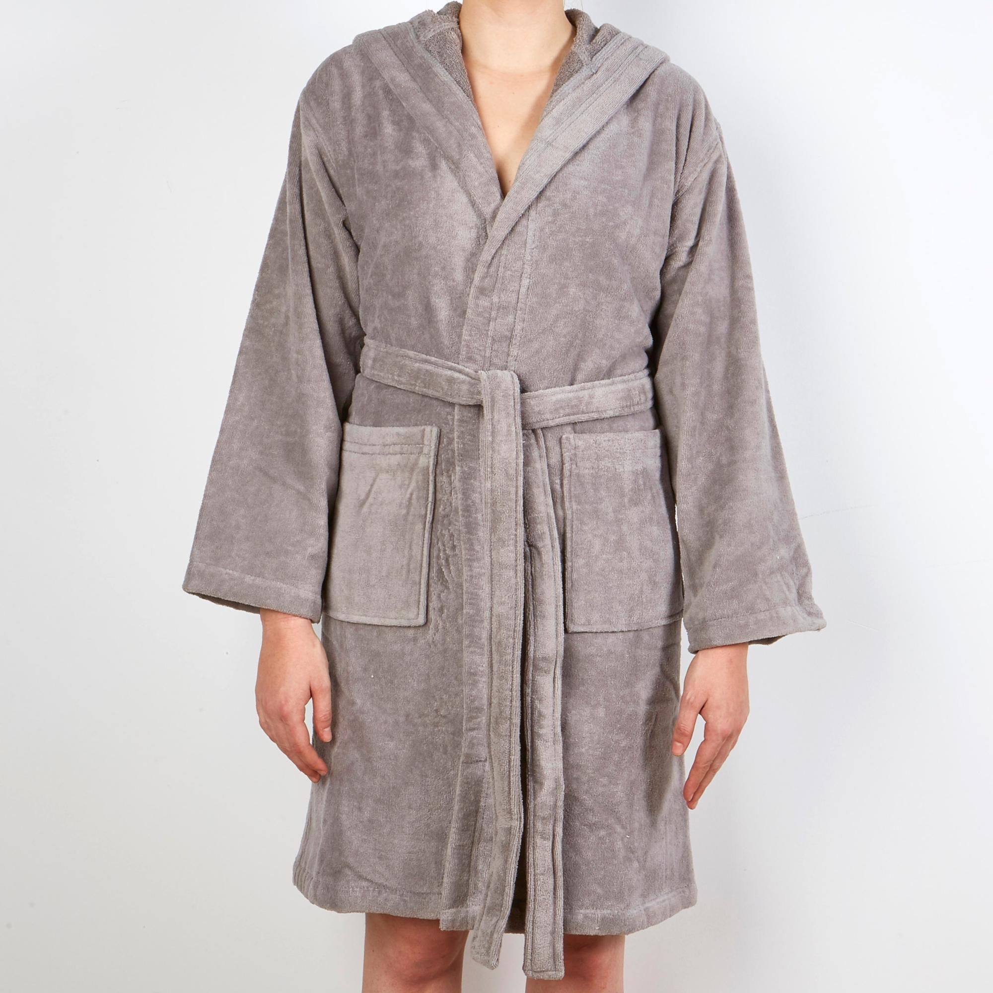 Hooyi Peignoir de bain /à capuche motif hippopotame pour fille Gris Taille S 90 cm