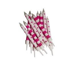 Achat en ligne Set de 12 bougies à rayures et pois rose et blanches