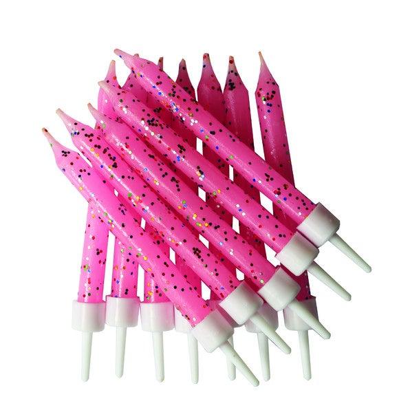 Set de 12 bougies pailletées rose