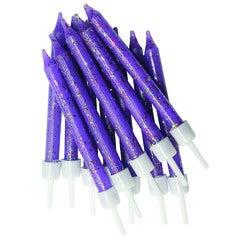 Achat en ligne Set de 12 bougies pailletées violet