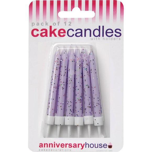 Achat en ligne Set de 12 bougies pailletées lilas