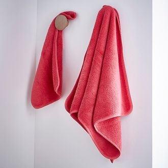 13700fd2561cca Serviette en micro-coton rose sorbet 50x100cm