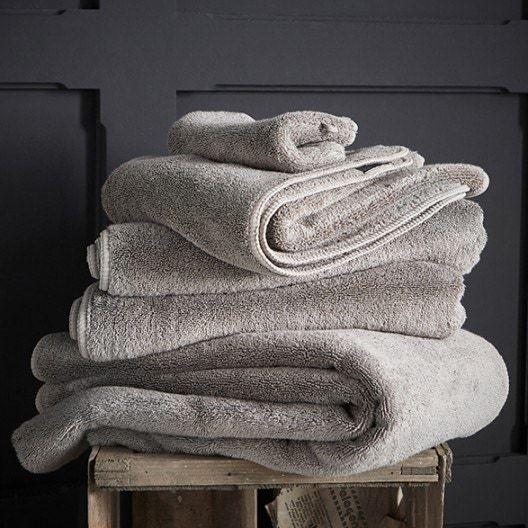 Serviette invité 30x50cm en micro-coton gris béton