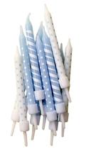 Achat en ligne Set de 12 bougies bleu à rayures et pois blanche