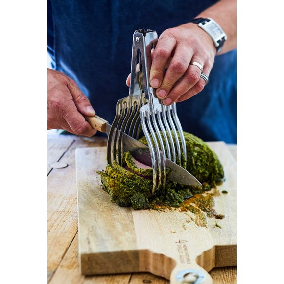 Pince coupe rôti tranches régulières en inox