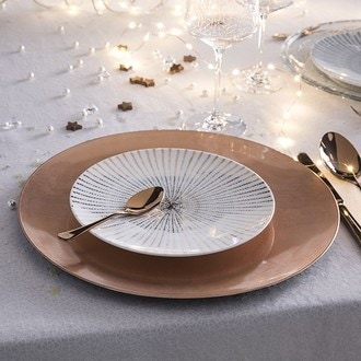 Assiette hôtesse rose cuivré forme coupe en résine, 33cm