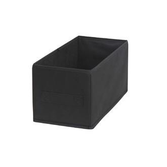 Bac de rangement en polyester tissé noir 15x31x15cm