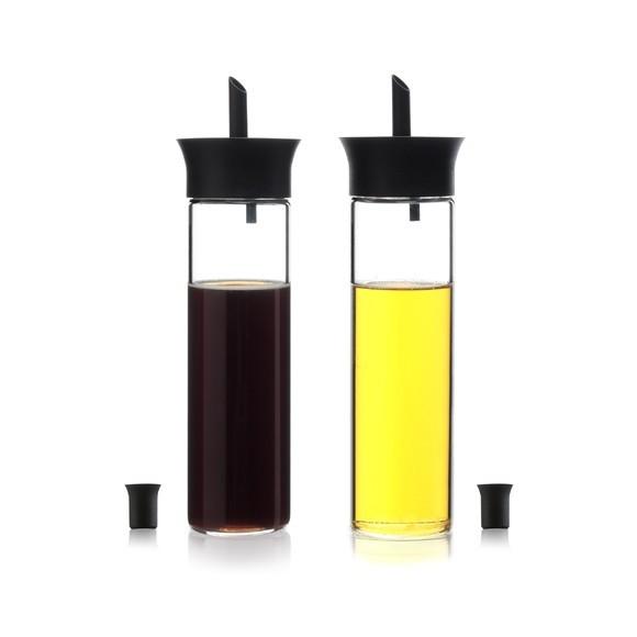 Set di 2 bottiglie per olio e aceto in vetro