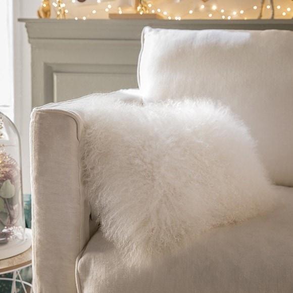 acquista online Cuscino rettangolare in lana bianco 45x30cm