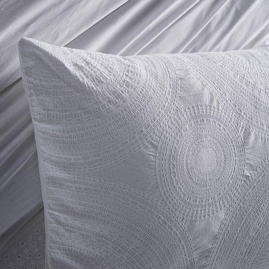 Federa in cotone percalle ricamato bianco 50x70cm