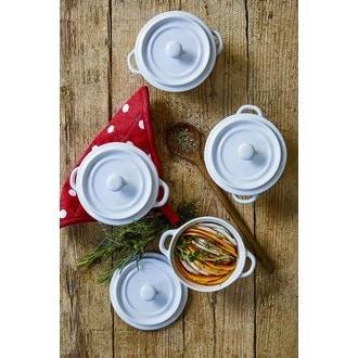 ZODIO - Set de 4 mini cocottes rondesen grés blanc 10cm