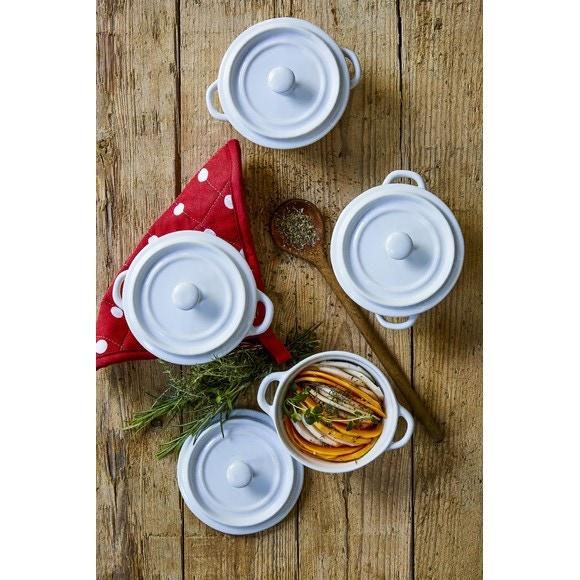 Set de 4 mini cocottes rondesen grés blanc 10cm