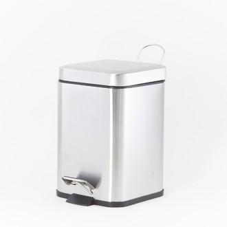 Poubelle de salle de bain carré en métal brossé - 3L