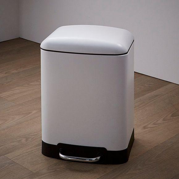 Poubelle de salle de bain rectangulaire blanc 6L