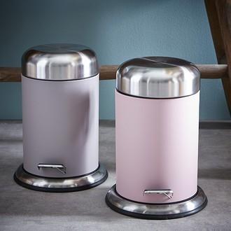 Poubelle de salle de bain rose avec couvercle et pédale acier brossé - 3L