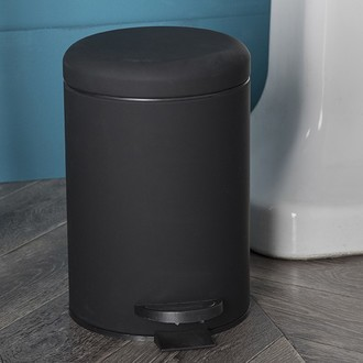 Poubelle de salle de bain soft touch noir avec ouverture à pédale - 3l
