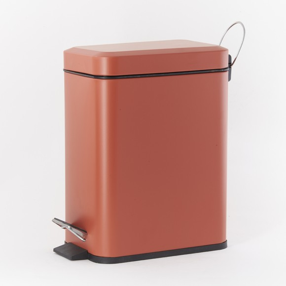 Captivant Poubelle De Salle De Bain Rectangulaire Orange 5L