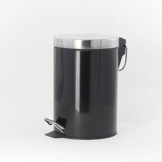Poubelle de salle de bain happy noir et chrome - 3L